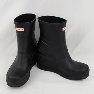 Hunter Black Wedge Boots Size US 8